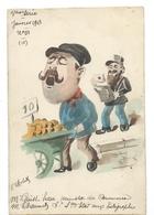 Aquarelle Signée ROBERT - G. GUIST'HAU Ministre Du Commerce C. CHAUMET Aux PTT 1913 - Caricature Politique - Humour - Robert