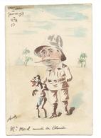Aquarelle Signée ROBERT - J. MOREL Ministre Des Colonies - Janvier 1913 - Caricature Politique - Humour - Robert