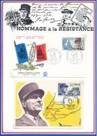 FRANCE- ENVELOPPE ALPHONSE JUIN MARECHAL DE FRANCE 28.02.70 PARIS +CARTE MARECHAL DE LATTRE DE TASSIGNY 08.05.70 PARIS - Guerre Mondiale (Seconde)