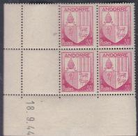 Andorre N° 94 XX Armoiries Des Vallées :30 C. Rose-lilas En Bloc De 4 Coin Daté Du 18 . 9 . 44, Sans Charnière, TB - Nuovi