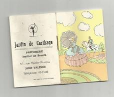 Calendrier Petit Livret 1977 Jardin De Carthage Parfumerie Institut Beauté 57 Rue Madier Montjau Valence 5x7,7 Cm - Calendars