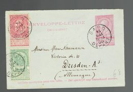 COB 56 + 58 /  Env.-Lettre 2 Gand 16 MAI 00 => Dresden - Enveloppes-lettres