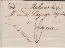 Lettre GHISTELLES Bureau De Distribution Cachet Type 18 - 2/4/1839 Vers HORNU + Boite (L) De Oudenbourg- SUPER Et RRR - 1830-1849 (Belgio Indipendente)