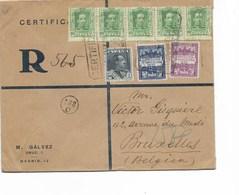 SH 0418. N° 276(5)-284-BARCELONE EXPO 1-2 CERTIFICADO/EXPOSICION NACIONAL En RECOMMANDE V. BRUXELLES - Storia Postale