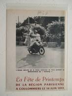 """Motocyclette   """" MOTO Police Nationale """"  Démonstration à Coulommiers - Coupure De Presse De 1953 - Motos"""
