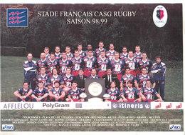 RUGBY POSTER 21X29,5 EQUIPE DU STADE FRANCAIS SAISON 98/99 Et Compo Des équipes Match Coupe D'europe - Sports