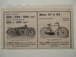 "Motocyclette Et Vélo Italien  "" MOTO & CICLO Frera - Coupure De Presse De 1927 - Motos"