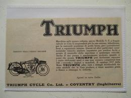 """Motocyclette   """" MOTO TRIUMPH 4.98 TT - Type T  Coventry """" - Coupure De Presse De 1927 - Motos"""