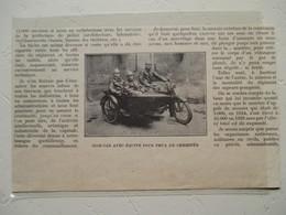 """Motocyclette   """" MOTO SIDE-CAR Pour Sapeurs Pompiers  """" - Coupure De Presse De 1929 - Motos"""