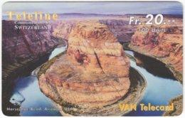 SWITZERLAND D-404 Prepaid Teleline - Landmark, Grand Canyon - Used - Suisse