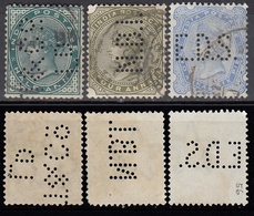 """INDIEN 1882-1900 - MiNr: 31+37+54 """"Perfin""""  Used - 1882-1901 Keizerrijk"""