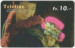SWITZERLAND D-417 Prepaid Teleline - People, Native Children - Used - Suisse