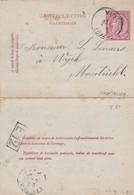 DDW750 - Entier Carte-Lettre Type TP 46 VISE 1892 Vers MAESTRICHT NL - TARIF FRONTALIER 10 C -Origine Manuscrite BOMBAYE - Cartas-Letras