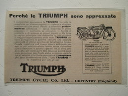 """Motocyclette   """" MOTO TRIUMPH 4.94   - Type P  Coventry """" - Coupure De Presse Italienne De 1926 - Motos"""