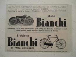 """Vélo & Motocyclette Italienne  """"  MOTO BIANCHI  """" - Coupure De Presse De 1927 - Motos"""