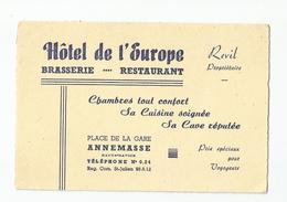 Carte De Visite Hotel De L'europe Brasserie Restaurant  Annemasse 74 Place De La Gare - Visiting Cards