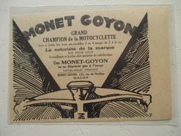 Motocyclette Ets MOTO  -MONET GOYON Macon   - Coupure De Presse De 1929 - Motos