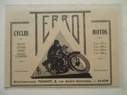 """Moto  """"  TERROT Dijon  """" - Coupure De Presse De 1929 - Motos"""