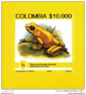 RO)2015 COLOMBIA, GOLDEN POISON FROG-PHYLLOBATES TERRIBILIS, ENDEMIC BIODIVERSITY ENDANGERED, STICKER-ADHESIVE, MNH- ( - Colombia