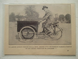 """Motocyclette Française  Fourgon  """" MOTO Tri-Porteur Ets LUTETIA Neuilly Sur Seine """" - Coupure De Presse De 1923 - Motos"""