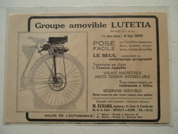 """Motocyclette Française     """" Groupe Moteur Pour MOTO  Ets LUTETIA Neuilly Sur Seine """" - Coupure De Presse De 1923 - Motos"""