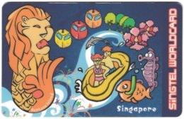 SINGAPORE B-699 Prepaid SingTel - Cartoon - Used - Singapour