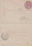 DDW760 - Entier Carte-Lettre Type TP 46  GEMBLOUX 1889 Vers LODELINSART - Cartas-Letras