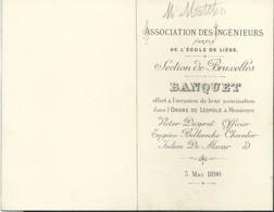 """Menu 4 Volets 1890 """"Association Des Ingénieurs Sortis De L'Ecole De Liège"""" Section De Bruxelles - Menus"""