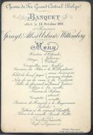 Menu 1893 Chemin De Fer Du Grand Central Belge à L'Hôtel Degraa Rue Fossé Aux Loups Bruxelles - Menus