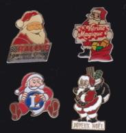 63665-lot De 4 Pin's.Noel.Fetes. - Navidad
