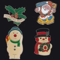 63669-lot De 4 Pin's.Noel.Fetes. - Navidad