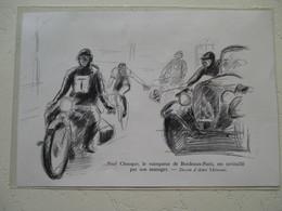 """Motocyclette   """" Moto MOTARD  Course Cycliste Paul Chocque Au Paris-Bordeaux  """" - Coupure De Presse De 1936 - Motos"""