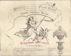 Banquet à J. Urban Direct Gén Du Grand Central Belge (chemins De Fer) 1889 Programme Du Concert Illustré Train 24X34cm - Menus
