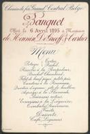 Menu 1895 Chemin De Fer Du Grand Central Belge à Mrs De Henin, De Greeff Et Carlier - Menus