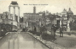 """6943 """" ROMA-FORO ROMANO COL CAMPIDOGLIO """"ANIMATA -CART. POST. ORIG. SPEDITA 1913 - Altri"""