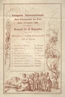 Menu 1889 Banquet Illustré  Congrès Intern Des Chemins De Fer Paris Avec Musique De La Garde Républicaine - Menus