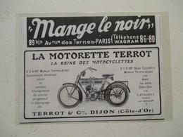 "Motocyclette   ""  MOTORETTE TERROT Dijon  "" - Coupure De Presse De 1913 - Motos"