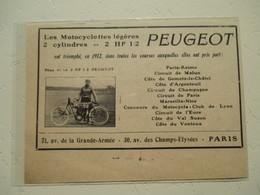 Motocyclette PEUGEOT 2 Cyl.    - Coupure De Presse De 1913 - Motos