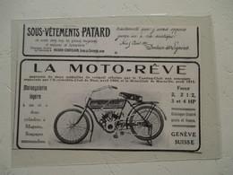 Bicyclette à Moteur Suisse MOTO REVE   - Coupure De Presse De 1912 - Motos