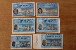 6 Interessants Billet De 10 Francs  Bon De Solidarité  Etat Français - 1939-45
