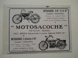"""Bicyclette à Moteur Suisse """"MOTOSACOCHE""""   - Coupure De Presse De 1912 - Motos"""