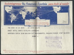 Radiotelegramas Via Transradio De Laspalmas 1957 Pour Gent - 1931-Aujourd'hui: II. République - ....Juan Carlos I