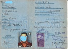 FISCAUX DE FRANCE CARTE DE SEJOUR 1982 SERIE UNIFIEE N°421 60F  VIOLET - Fiscales