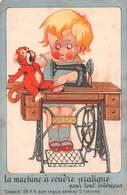 Carte Publicitaire De Luxeuil-les-Bains-70-Haute-Saône-SINGER MACHINE A COUDRE Pratique Dessin Illustrateur-Garçon-Singe - Publicité