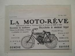 Bicyclette à Moteur Suisse MOTO REVE   - Coupure De Presse De 1910 - Motos