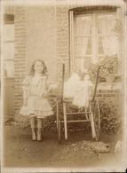 Photo Vintage Citrate Jeune Fille Charrette à Bras Avec Poupée Vers 1900 Jouet - Objets