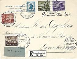 Luxembourg - Lettre Poste-Aérienne - 21-4-1047 - Recommandé - Paul Hippert , Tissus En Gros - Luxembg - Poste Aérienne