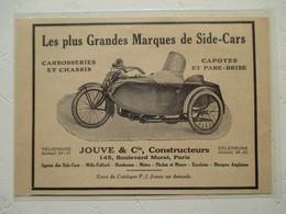 Motocyclette   SIDE-CAR  -  Ets Jouve & Cie à Auteuil - 145 Boulevard Murat   - Coupure De Presse De 1933 - Machines