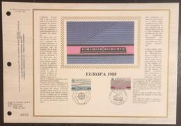 France - Document Philatélique - FDC - Premier Jour - YT N° 2531 Et 2532 - Europa - 1988 - 1980-1989