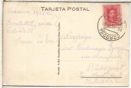 CORDOBA TARJETA POSTAL A HUNGRIA ALFONSO XIII MAT ESTACION RAILWAY STATION 1928 - Cartas